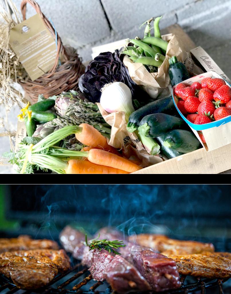 panier-fruits-légumes-viande-grillades-GAEC Les Jardins de Chabrières